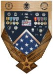 Air Force Logo Laser Top Shadow Box (Walnut) Air Force Logo Shadow Box